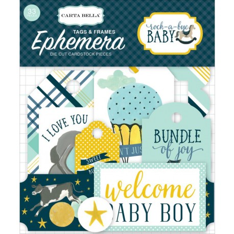 Rock-A-Bye Baby Boy Tags & Frames Ephemera Die Cut Cardstock Pieces Carta Bella
