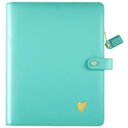 "Light Teal Color Crush A5 Faux Leather Composition Planner 7,5""x10"" Webster's Pages"