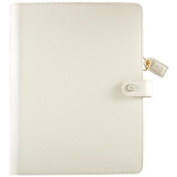 "White Color Crush A5 Faux Leather Composition Planner 7,5""x10"" Webster's Pages"