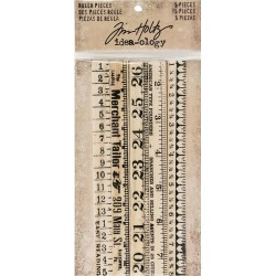 Wooden Ruler Pieces 5 Pkg Idea-ology by Tim Holtz