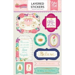 Once Upon A Time Princess Adhesive Layered Stickers Echo Park