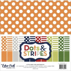 "Little Boy Dots And Stripes 12""x12"" Colelction Kit Echo Park"