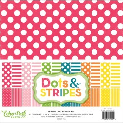 "Spring Dots And Stripes 12""x12"" Colelction Kit Echo Park"
