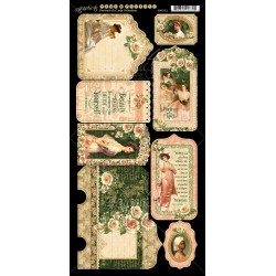 """Poertrait Of Lady Tags & Pockets Cardstock Die Cuts 6""""x12"""" Sheet Graphic 45"""