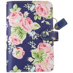 "Navy Floral Color Crush Faux Leather Personal Planner Kit 5,25""x8"" Webster's Pages"