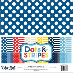 "Summer Dots And Stripes 12""x12"" Colelction Kit Echo Park"