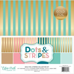 "Gold Foil Stripes 12""x12"" Colelction Kit Echo Park"