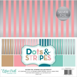 "Silver Foil Stripes 12""x12"" Colelction Kit Echo Park"