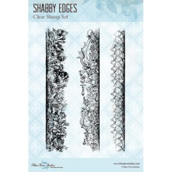 "Shabby Edges Clear Stamps 4""x6"" Blue Fern Studios"