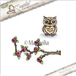 Timbro Climbing Rose with Owl Magnolia Rubber Stamp - BU17