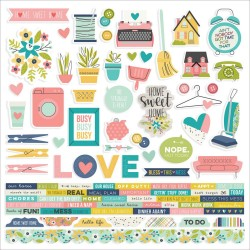 "Domestic Bliss Combo Cardstock Stickers 12""x12"" Simple Stories"