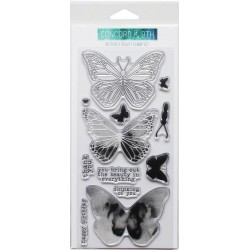 """Butterfly Clear Stamps 4""""x8"""" Concord & 9th"""