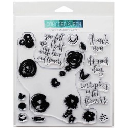 """Flower Turnabout Clear Stamps 4""""x8"""" Concord & 9th"""