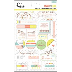 Live More Foiled Chipboard Stickers 19 Pkg Pinkfresh Studio