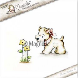 Timbro Little Westie With Flower Magnolia Rubber Stamp - CG17