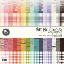 "Wood & Gingham Basics Paper Pad 12"" x 12"" Simple Stories"