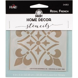 "Regal French Stencil 4""x4"" FolkArt Home Decor Plaid"