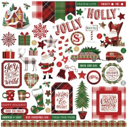 "Mad 4 Plaid Christmas Elements Stickers 12""x12"" Photo Play"