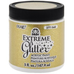 Gold Extreme Glitter Acrylic Paint 148 ml FolkArt Home Decor Plaid