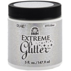 Silver Extreme Glitter Acrylic Paint 148 ml FolkArt Home Decor Plaid