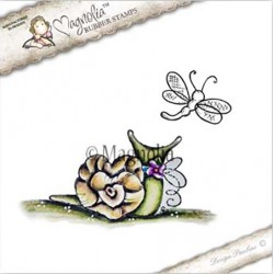 Timbro Love Snail Dragonfly Magnolia Rubber Stamp - YB17