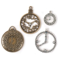 Clocks Steampunk Metal Accent 4 Pkg