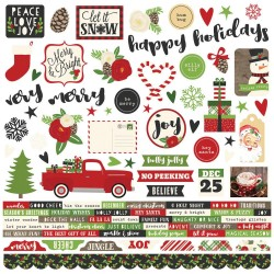 "Very Merry Combo Cardstock Stickers 12""x12"" Simple Stories"