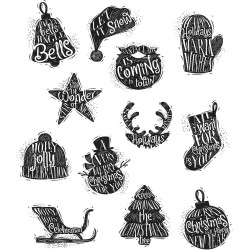 "Mini Carved Christmas Tim Holtz Cling Rubber Stamp Set 7""x8,5"""