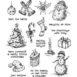 "Tattered Christmas Tim Holtz Cling Rubber Stamp Set 7""x8,5"""