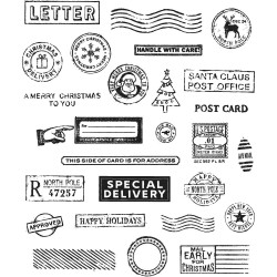 "Holiday Postmarks Tim Holtz Cling Rubber Stamp Set 7""x8,5"""