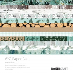 "Mint Wishes 6 1/2""x6 1/2"" Paper Pad Kaisercraft"
