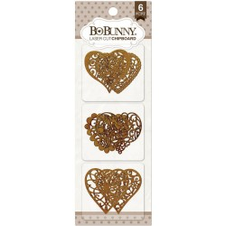 Hearts Laser Cut Chipboard 6 pkg Bo Bunny