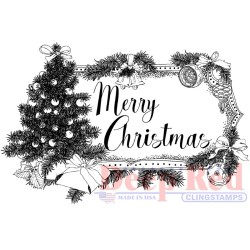 Christmas Tree Tag Cling Stamps Deep Red