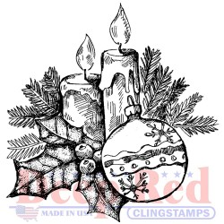 Holly Candles Cling Stamps Deep Red