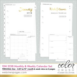 2018 Dated Week & Month 12-Month Calendar Insert Color Crush Personal Planner Wbester's Pages