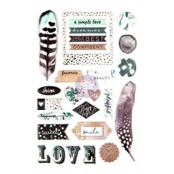 Zella Teal Puffy Stickers Prima Marketing