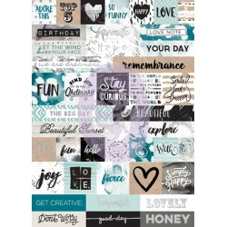 Zella Teal Word Stickers Prima Marketing