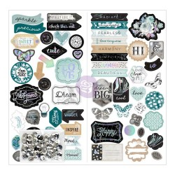 "Zella Teal Chipboard Stickers 6""x12"" Prima Marketing"