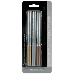 Gold Silver & Copper Metallic Markers Medium Point 3 Pkg American Crafts