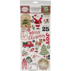"A Perfect Christmas Adhesive Chipboard Accents 6""x12"" Echo Park"