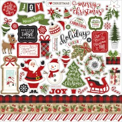 "A Perfect Christmas Cardstock Element Stickers 12""x12"" Echo Park"