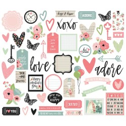 Romance Bits & Pieces Cardstock Die-Cuts 54 pcs Simple Stories