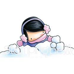 Snowball Girl The Littles Winter Collection Cling Rubber Stamp Stamping Bella