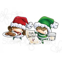 Waiting For Santa The Littles Christmas Collection Cling Rubber Stamp Stamping Bella