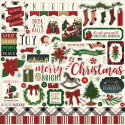 "Twas The Night Before Christmas Cardstock Element Stickers Volume 2 12""x12"" Echo Park"