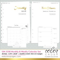 2018 Dated Week & Month Color Crush A5 Planner 12-Month Calendar Insert