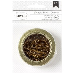 "Gold Paper Clips 80 Pkg with Magnetic Office Tins 2,5"" American Crafts"