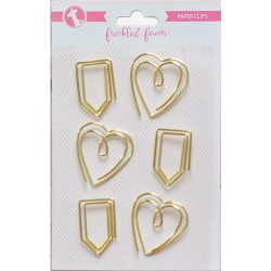 Gold Heart & Tab Decorative Metal Paper Cips Freckled Fawn