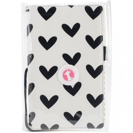 "Black & White Hearts Pocket Traveler's Notebook 9""x5,75"" Freckled Fawn"