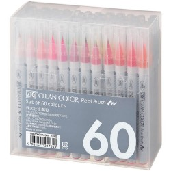 60 Color Set Zig Clean Color Real Brush Markers Kuretake